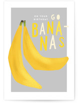 This is a yellow birthday card by Rebecca Durflinger called Bananas with standard printing on signature in greeting cards.