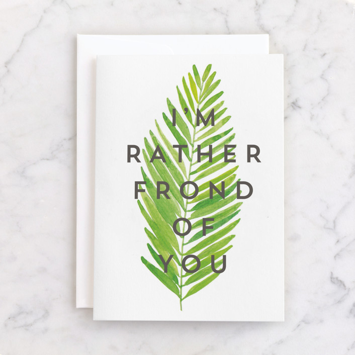 """""""I'm Rather Frond of You"""" - Individual Birthday Greeting Cards in Fern by Catherine Culvenor."""