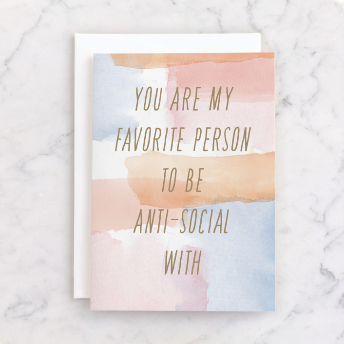 """""""Anti-social together"""" - Individual Birthday Greeting Cards in Orange by Char-Lynn Griffiths."""
