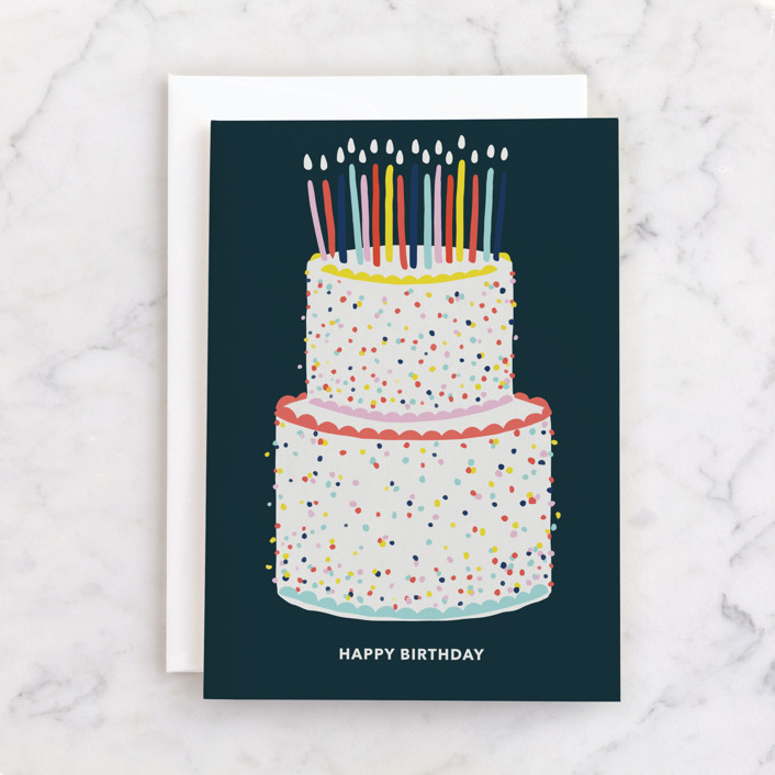 """Happy Birthday Cake"" - Individual Birthday Greeting Cards in Navy by Made by Mosa."