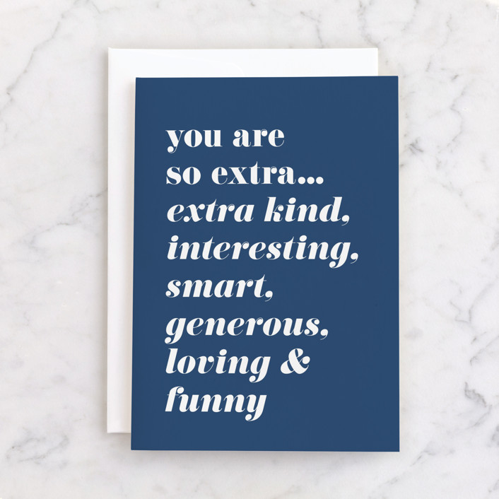 """""""So Extra"""" - Individual Birthday Greeting Cards in Navy by Karen Kaul."""