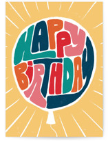 This is a yellow birthday card by Kristen Knechtel called Retro Balloon with standard printing on signature in greeting cards.