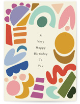 This is a yellow birthday card by Morgan Kendall called Party Shapes with standard printing on signature in greeting cards.