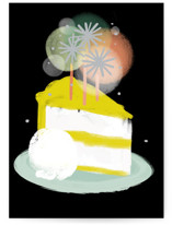 This is a black birthday card by Rebecca Durflinger called candle cake slice with standard printing on signature in greeting cards.