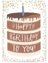 This is a brown birthday card by Alethea and Ruth called Layered Cake with standard printing on signature in greeting cards.