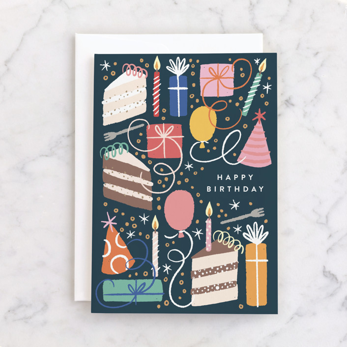 """""""All the Birthday"""" - Individual Birthday Greeting Cards in Navy by Alethea and Ruth."""