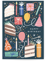 This is a blue birthday card by Alethea and Ruth called All the Birthday with standard printing on signature in greeting cards.