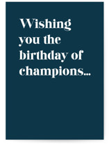 This is a blue birthday card by Snow and Ivy called Champions with standard printing on signature in greeting cards.