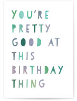 This is a white birthday card by Lori Wemple called birthday pro with standard printing on signature in greeting cards.