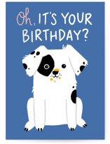 This is a blue birthday card by Genna Blackburn called Cake Thief with standard printing on signature in greeting cards.