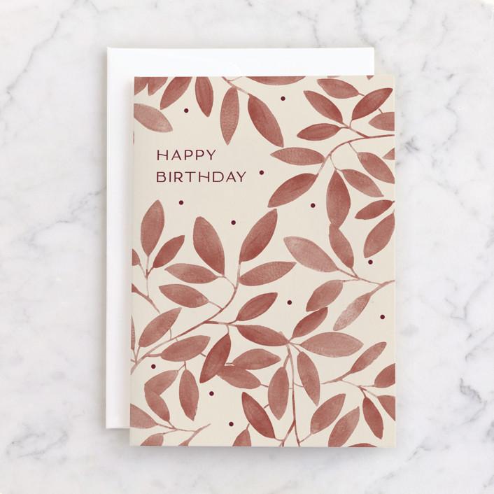 """Corner Garden"" - Individual Birthday Greeting Cards in Beige by Amy Kross."
