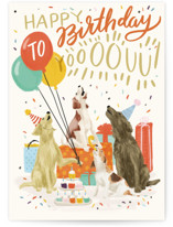 This is a beige birthday card by Shiny Penny Studio called Birthday Howls with standard printing on signature in greeting cards.