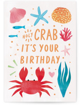 This is a blue birthday card by Cindy Chu called Holy Crab with standard printing on signature in greeting cards.