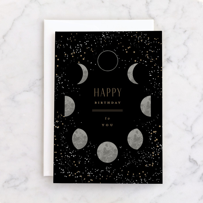 """""""Moon Phases"""" - Individual Birthday Greeting Cards in Space by Everett Paper Goods."""