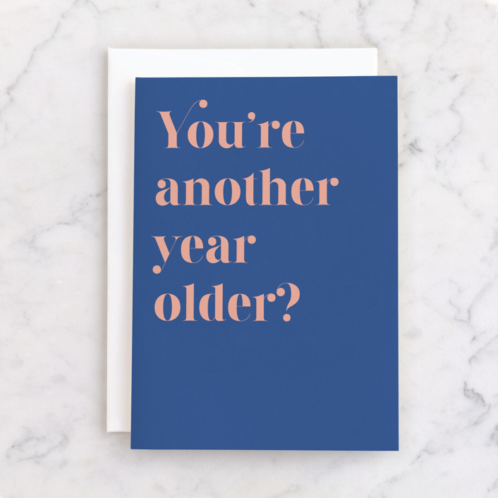 """""""None the wiser"""" - Individual Birthday Greeting Cards in Royal Blue by Catherine Culvenor."""