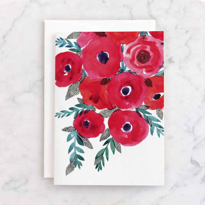 """Red flowers bouquet"" - Individual Blank Greeting Cards in Deep carmine by Alexandra Dzh."