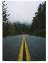 This is a brown greeting card by Christian Florin called Road In The Clouds with standard printing on signature in greeting cards.