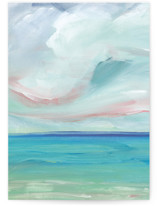 This is a blue greeting card by Lindsay Megahed called Sea Escape with standard printing on signature in greeting cards.