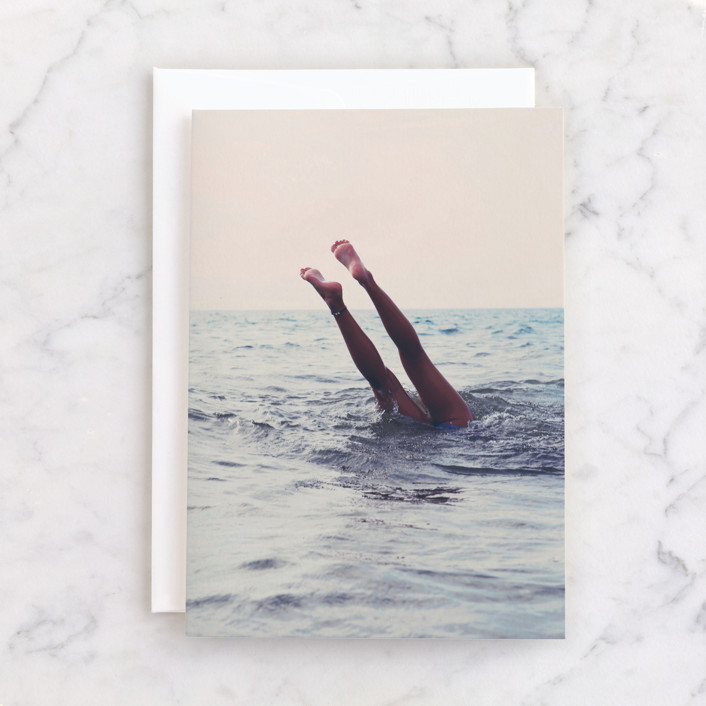 """""""Summer Handstand"""" - Individual Blank Greeting Cards in Sea Blue by ALICIA BOCK."""