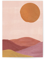 This is a orange greeting card by Annie Shapiro called Sand mountains with standard printing on signature in greeting cards.