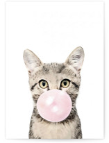 This is a pink greeting card by Maja Cunningham called Bubblegum Animals: Cat with standard printing on signature in greeting cards.