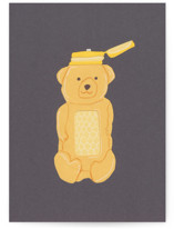 This is a gold greeting card by Elliot Stokes called Honey Bear with standard printing on signature in greeting cards.