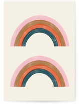 This is a beige greeting card by EMANUELA CARRATONI called Double Vintage Rainbow with standard printing on signature in greeting cards.