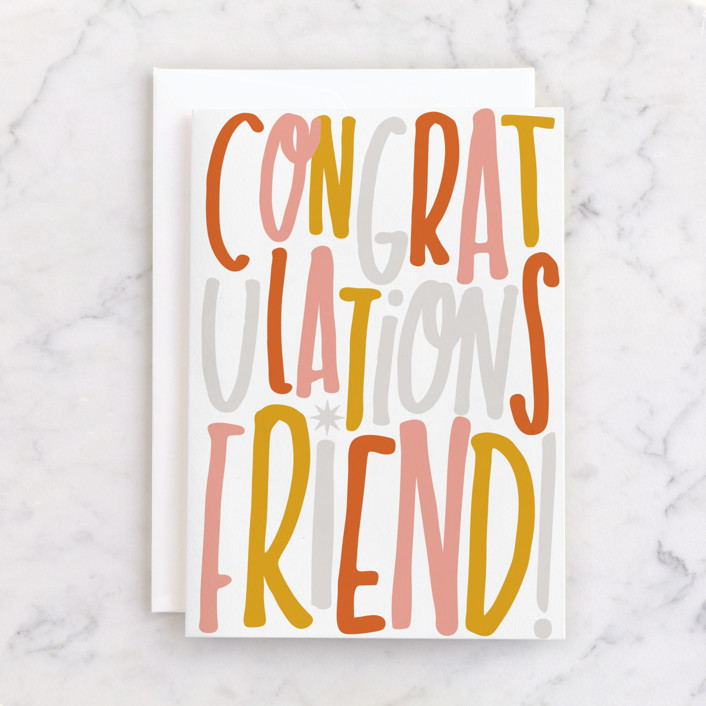 """friendly"" - Individual Congrats Greeting Cards in Tangerine by Marabou Design."