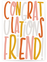 This is a orange congratulations card by Marabou Design called friendly with standard printing on signature in greeting cards.