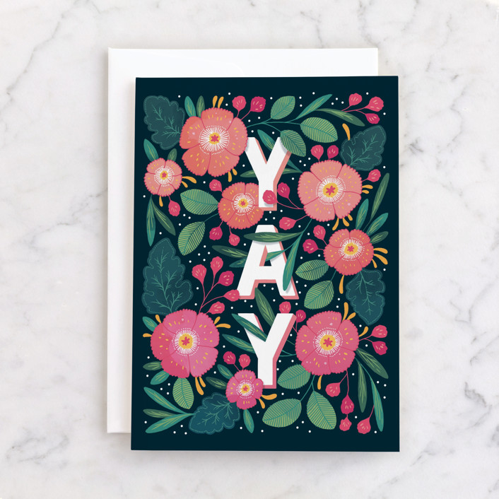 """Yay Yay!"" - Individual Congrats Greeting Cards in Rose by Paper Raven Co.."