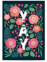 This is a pink congratulations card by Paper Raven Co. called Yay Yay! with standard printing on signature in greeting cards.