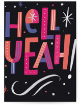 This is a black congratulations card by Hannah Williams called hell yeah congrats with standard printing on signature in greeting cards.
