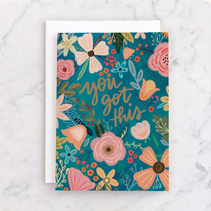 """""""You Got This - Floral"""" - Individual Congrats Greeting Cards in Peach by Noonday Design."""