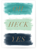 This is a blue congratulations card by Jackie Crawford called Oh heck yes with standard printing on signature in greeting cards.