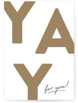 This is a brown congratulations card by Robert and Stella called Yay for you! with standard printing on signature in greeting cards.