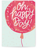 This is a red congratulations card by Meggy Masters called Celebration Balloon with standard printing on signature in greeting cards.
