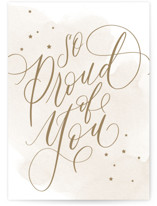 This is a beige congratulations card by Everett Paper Goods called So Proud with standard printing on signature in greeting cards.