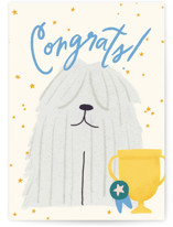 This is a beige congratulations card by Ana Peake called Top Dog with standard printing on signature in greeting cards.