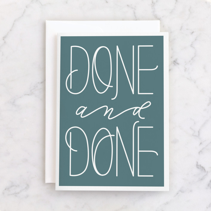 """""""Done and Done"""" - Individual Congrats Greeting Cards in Ocean by Carolyn Kach."""