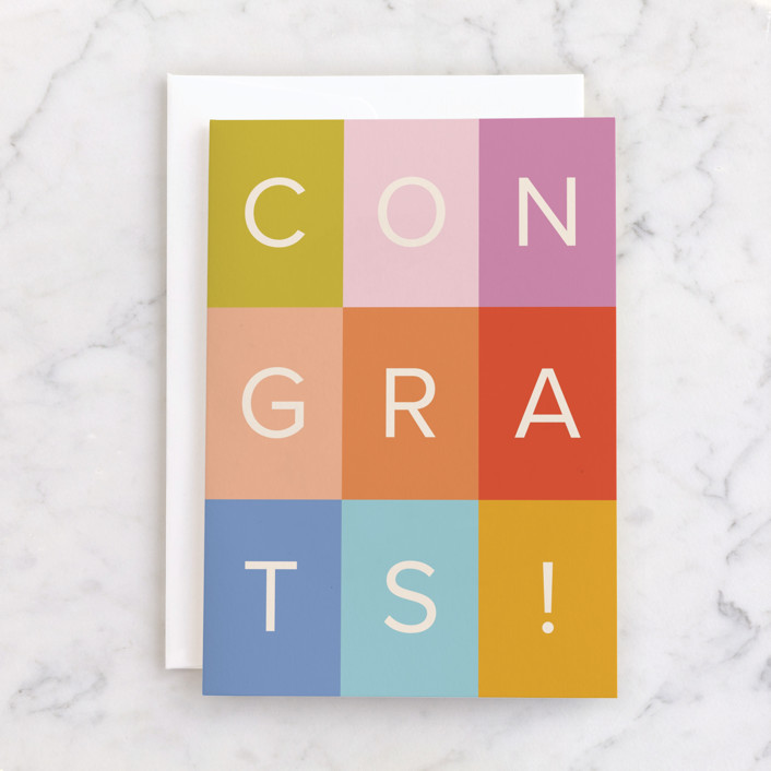 """""""colorful congrats!"""" - Individual Congrats Greeting Cards in Rainbow by Ellen Schlegelmilch."""