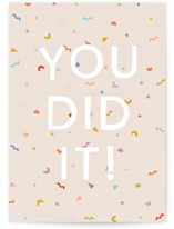 This is a beige congratulations card by Ellen Schlegelmilch called You Did It! with standard printing on signature in greeting cards.