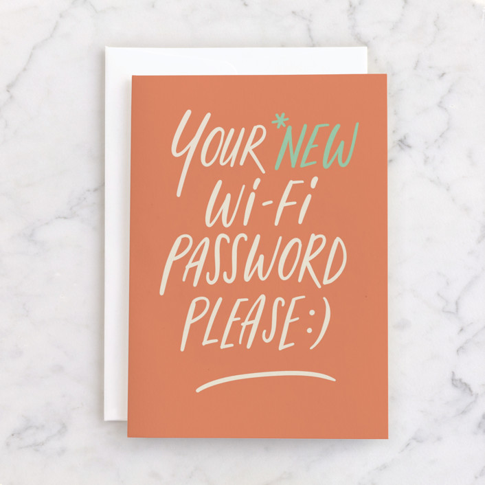"""""""Wifi password"""" - Individual Congrats Greeting Cards in Tangerine by Adelyn T.."""