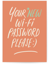 This is a orange congratulations card by Adelyn T. called Wifi password with standard printing on signature in greeting cards.