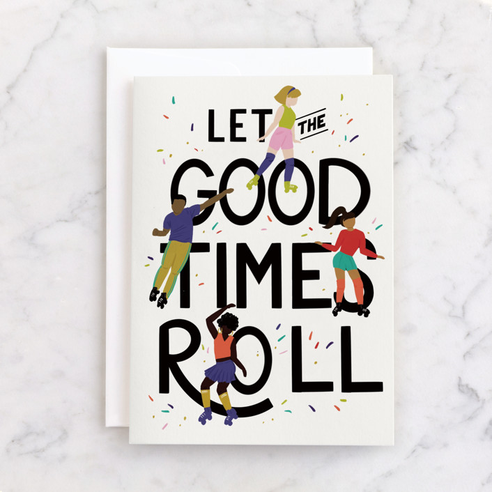 """""""Let the Good Times Roll"""" - Individual Congrats Greeting Cards in Confetti by Shiny Penny Studio."""