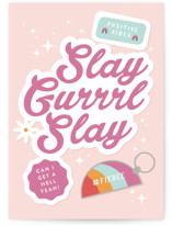 This is a pink congratulations card by Corinne Malesic called Slay Gurrrl with standard printing on signature in greeting cards.