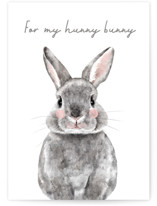This is a grey greeting card by Cass Loh called Baby Animal Rabbit with standard printing on signature in greeting cards.