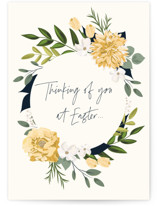 This is a green greeting card by Susan Moyal called Easter Thoughts with standard printing on signature in greeting cards.
