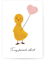 This is a yellow greeting card by Joanne James called Spring Duckie with standard printing on signature in greeting cards.