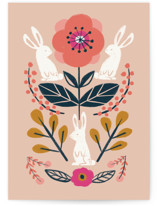This is a orange greeting card by Afton Harding called Forest Friends with standard printing on signature in greeting cards.