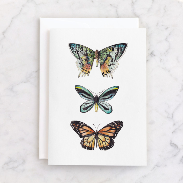 """""""Butterfly Watercolors"""" - Individual Seasonal Greeting Cards in Butterfly wing black by Lauren Rogoff."""